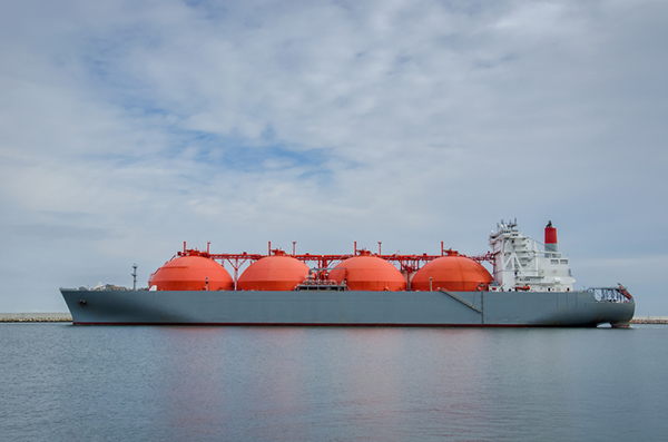 Ship transporting liquid natural gas (LNG)